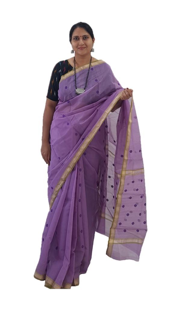HandWoven Chanderi Pure Silk Cotton Butti Work Saree Lavender : Picture