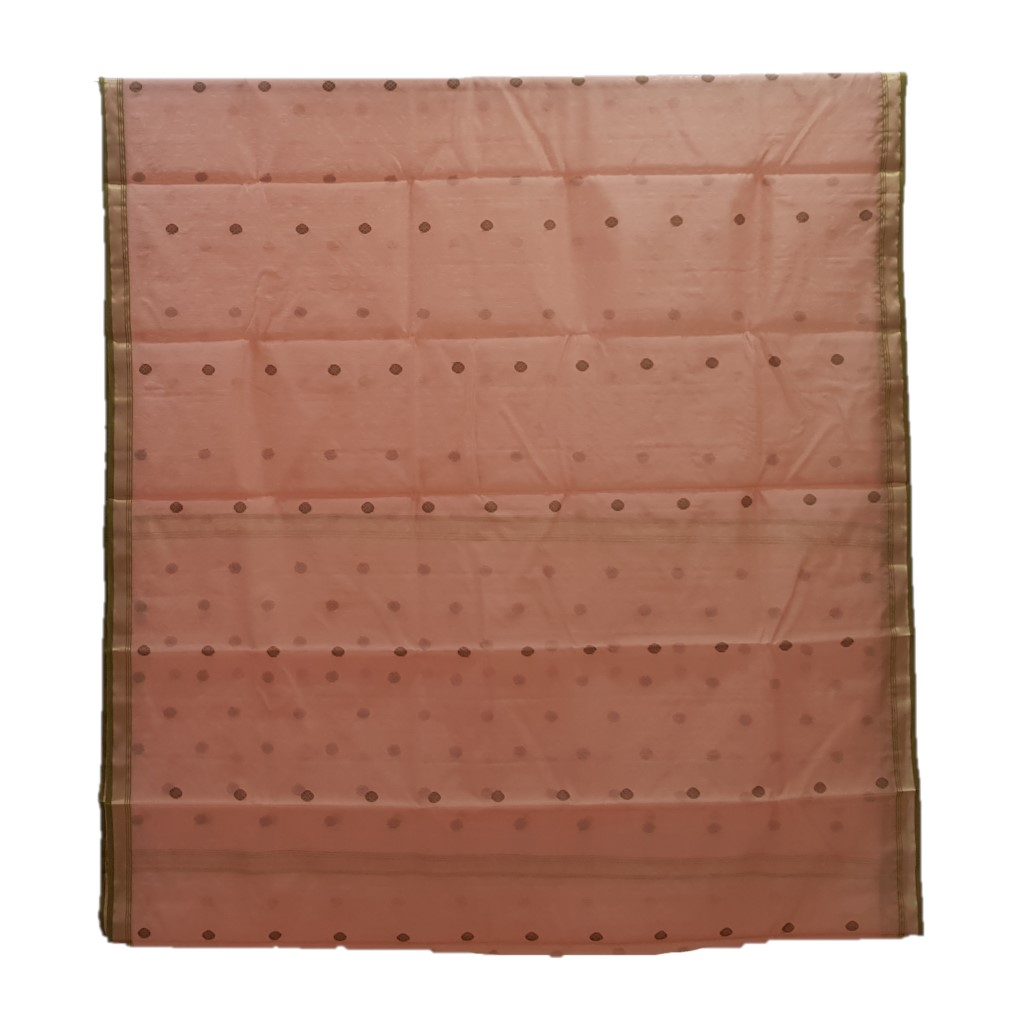 HandWoven Chanderi Pure Silk Cotton Butti Work Saree Peach : Picture