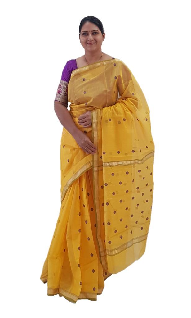 HandWoven Chanderi Pure Silk Cotton Butti Work Saree Mango Yellow : Picture