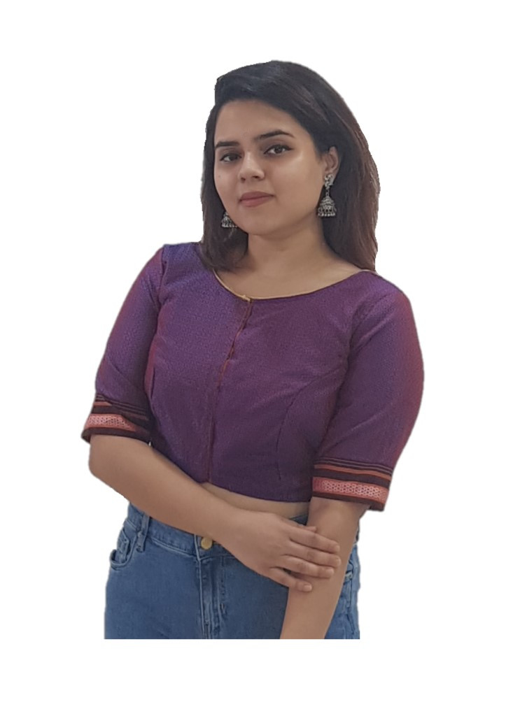 Ilkal Cotton Silk Khun Fabric Boat Neck Readymade Saree Blouse Purple Blue : Picture