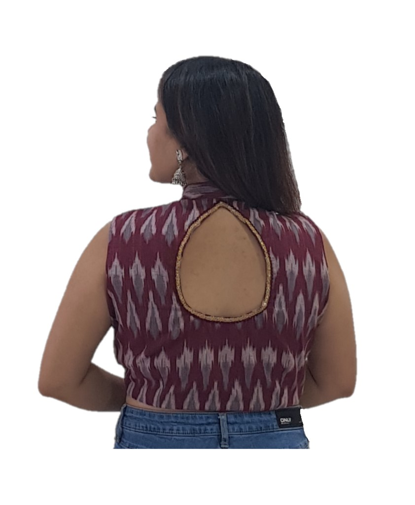 Pochampally Ikat Cotton Fabric Stand Collar Readymade Saree Blouse Maroon : Picture