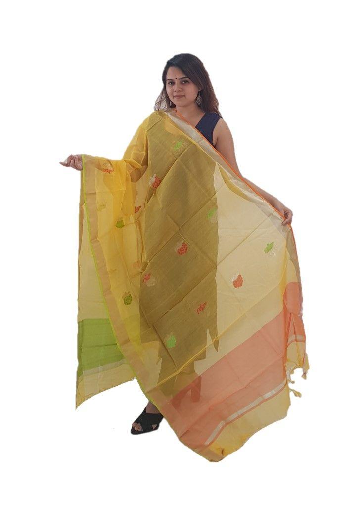 HandWoven Chanderi Pure Silk Resham Butti Dupatta Mango Yellow : Details
