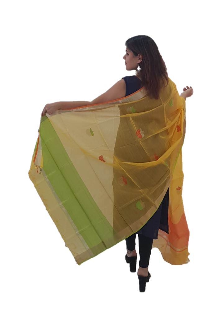 HandWoven Chanderi Pure Silk Resham Butti Dupatta Mango Yellow : Picture