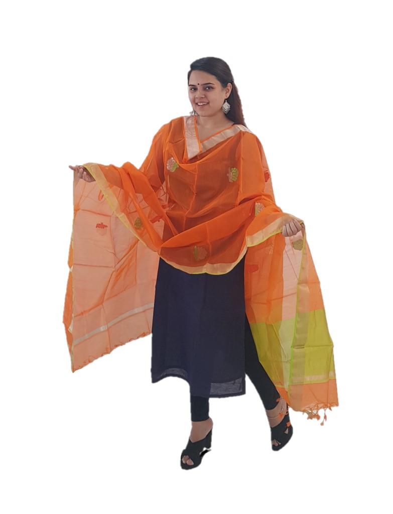 HandWoven Chanderi Pure Silk Resham Butti Dupatta Orange : Picture