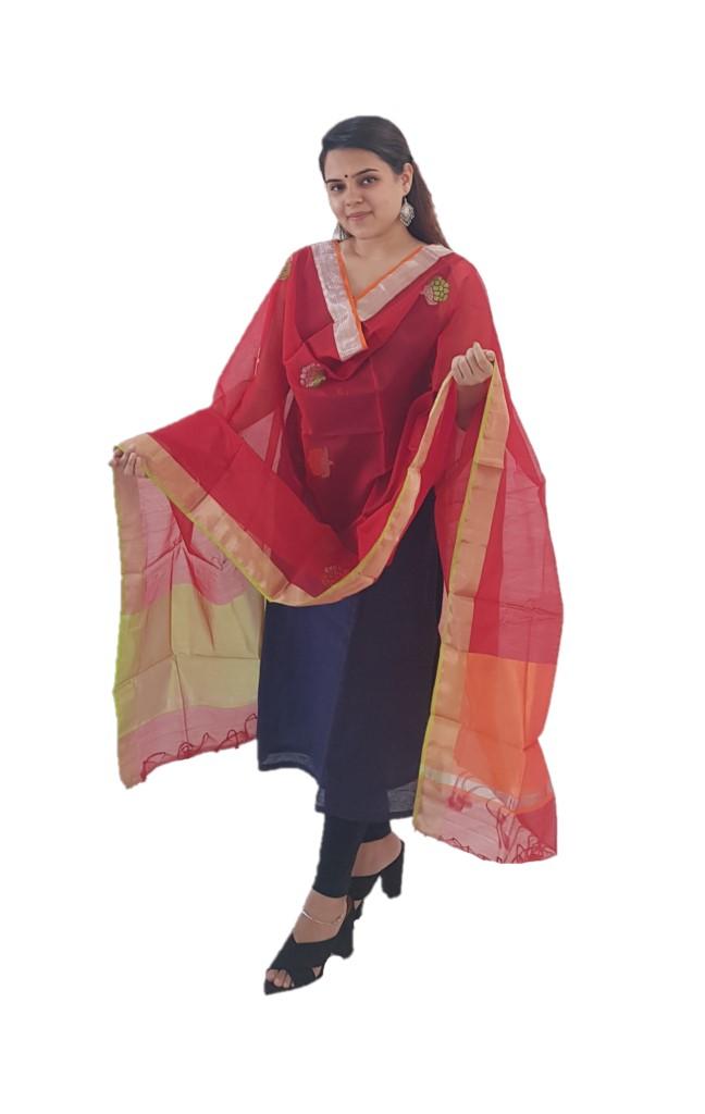 HandWoven Chanderi Pure Silk Resham Butti Dupatta Red : Picture