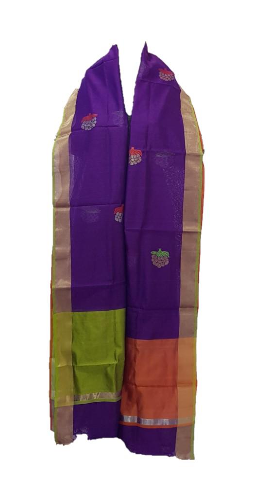 HandWoven Chanderi Pure Silk Resham Butti Dupatta Dark Jamuni : Picture