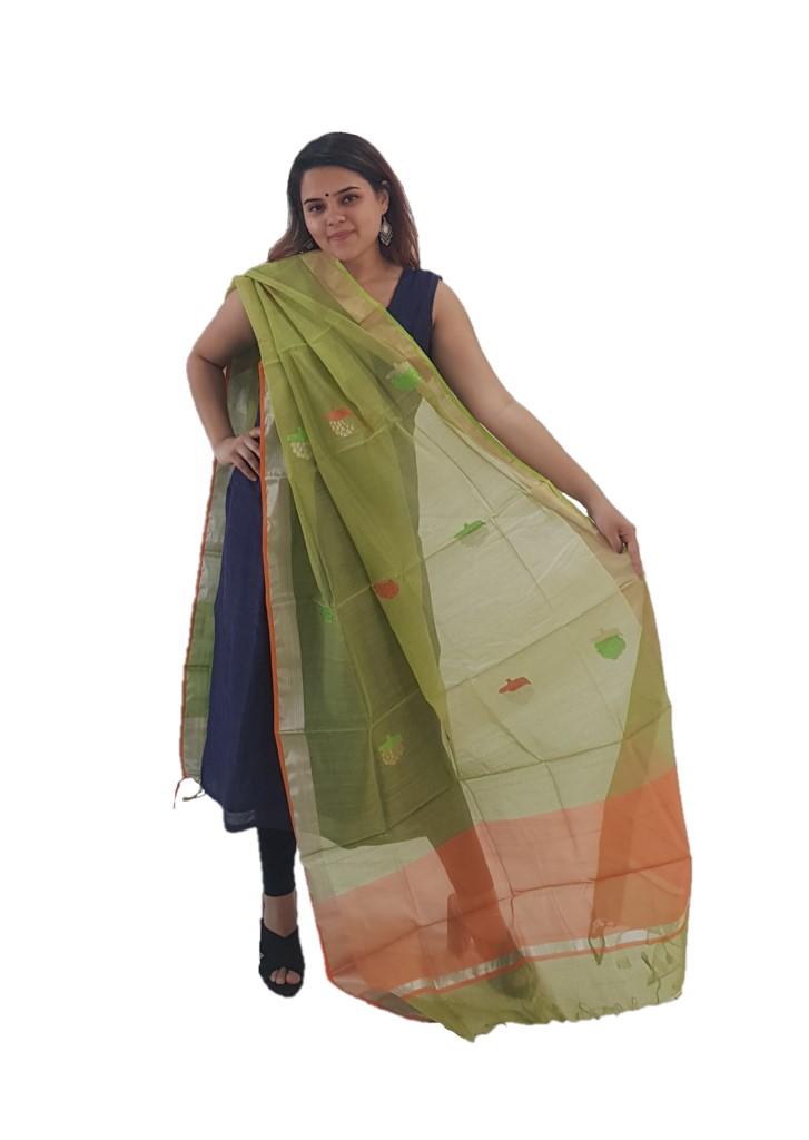HandWoven Chanderi Pure Silk Resham Butti Dupatta Light Green : Picture