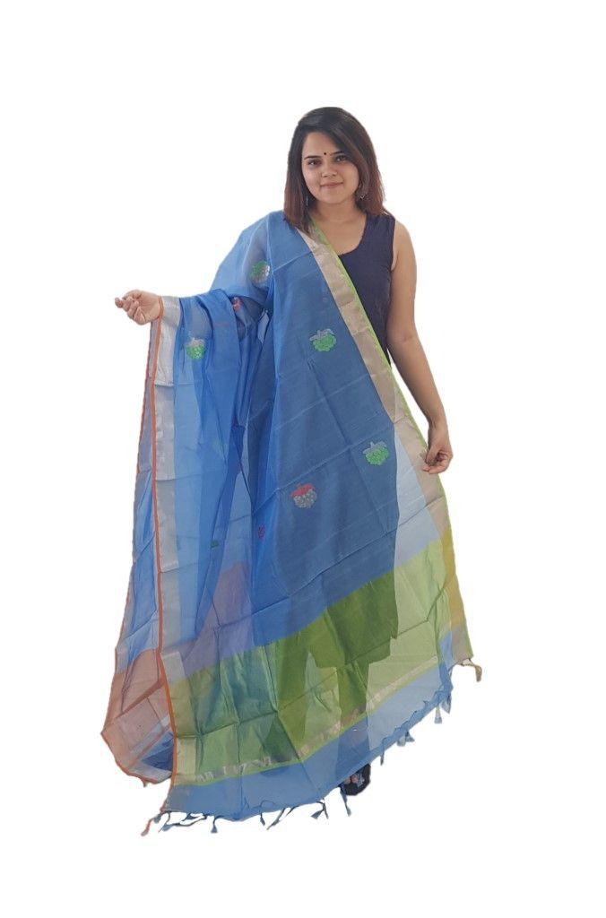HandWoven Chanderi Pure Silk Resham Butti Dupatta Light Blue : Details