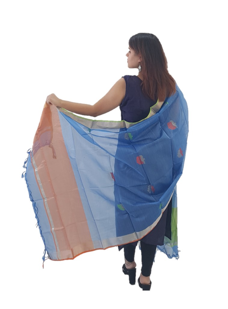 HandWoven Chanderi Pure Silk Resham Butti Dupatta Light Blue : Picture