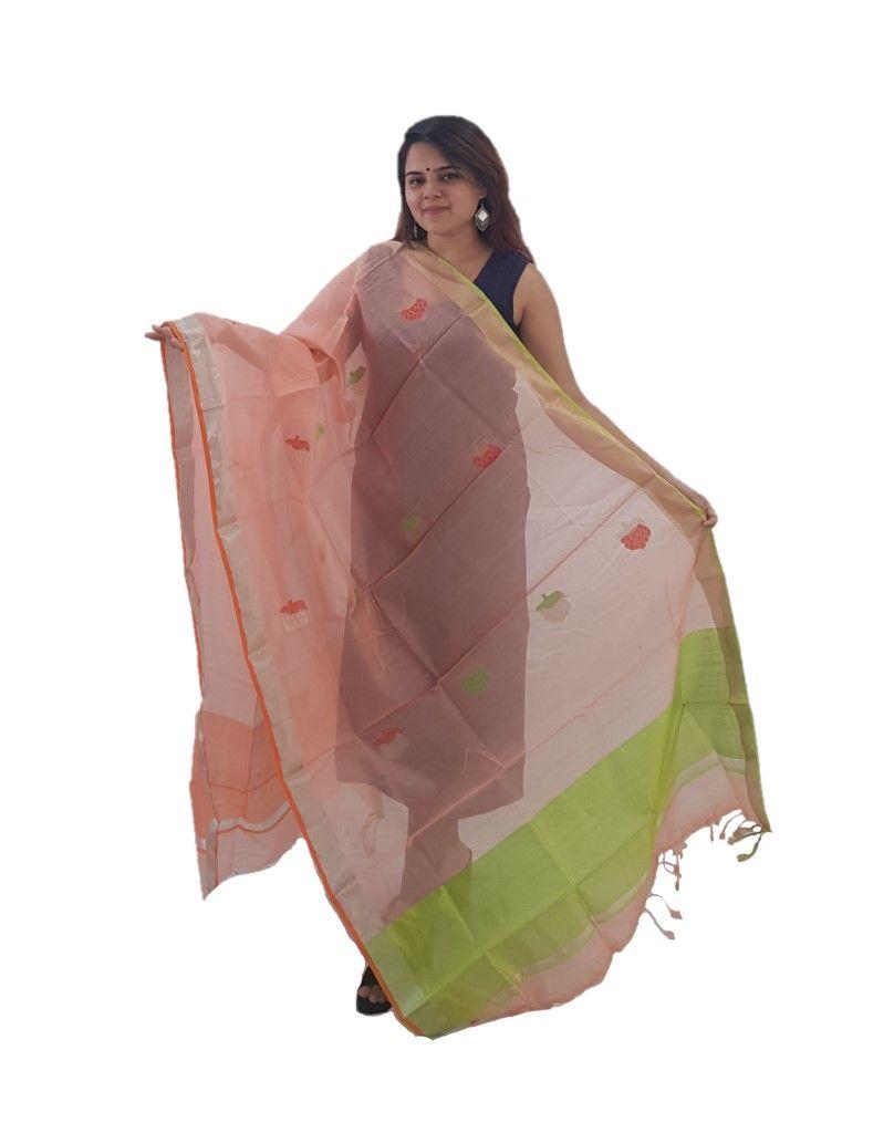 HandWoven Chanderi Pure Silk Resham Butti Dupatta Peach : Details