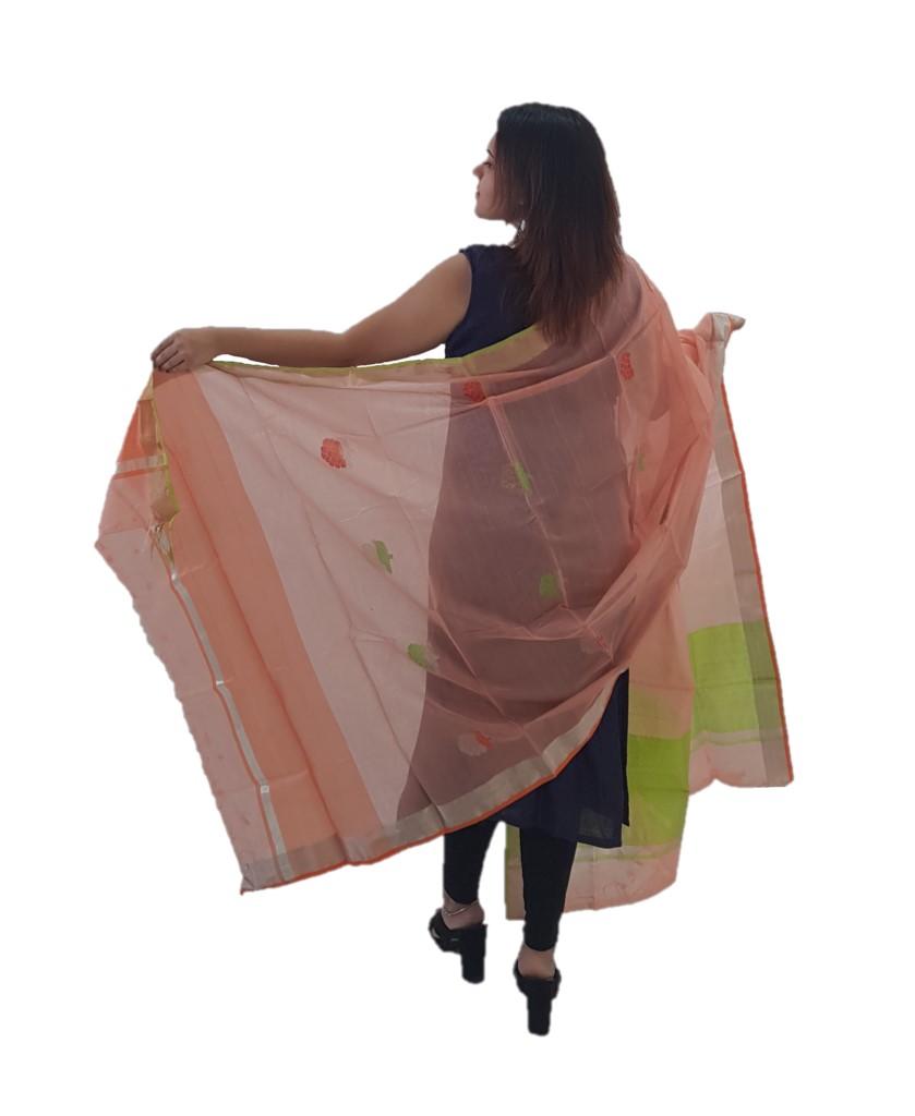 HandWoven Chanderi Pure Silk Resham Butti Dupatta Peach : Picture