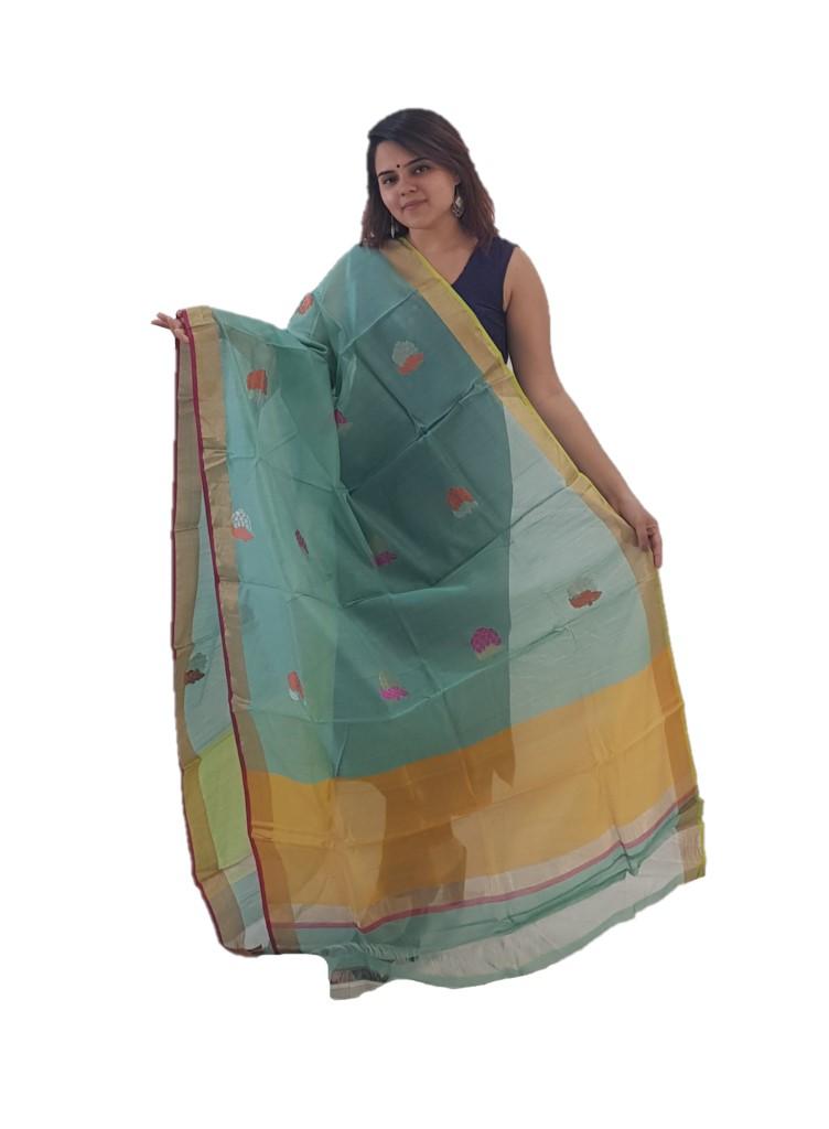 HandWoven Chanderi Pure Silk Resham Butti Dupatta PistaGreen : Picture