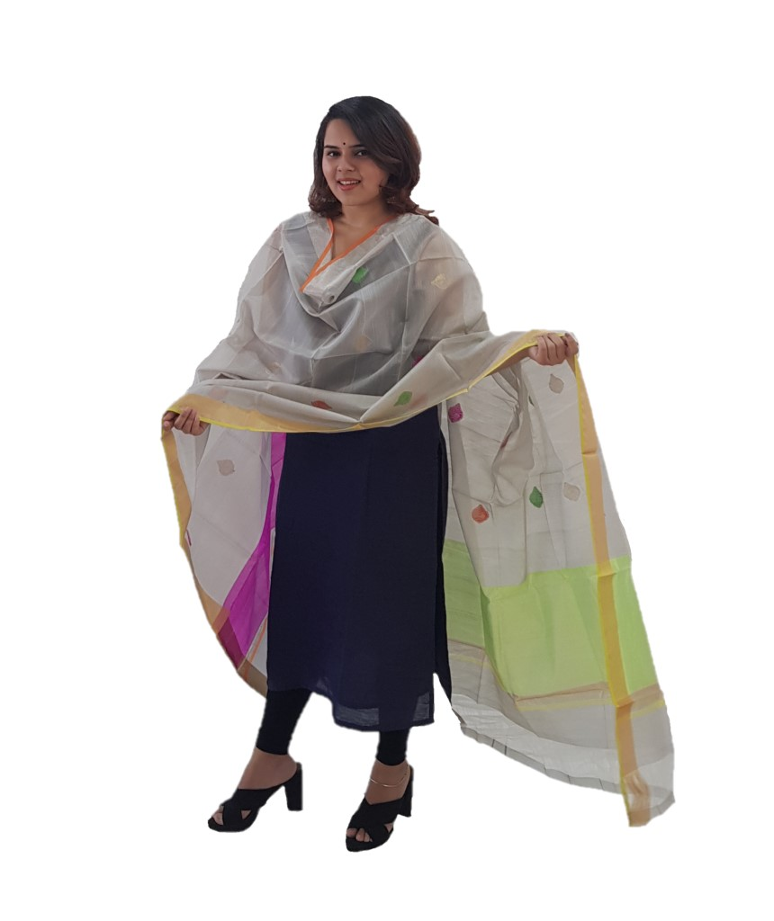 HandWoven Chanderi Pure Silk Resham Butti Dupatta Grey : Picture
