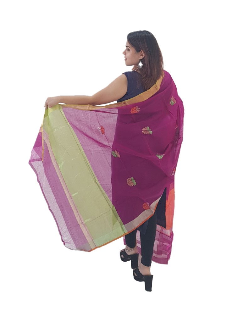 HandWoven Chanderi Pure Silk Resham Butti Dupatta Magenta : Picture