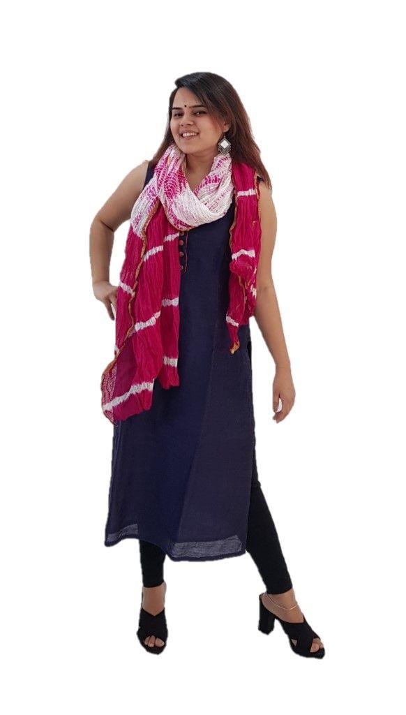 HandWoven Shibori Dyed Kota Doria Cotton Dupatta White Pink : Details
