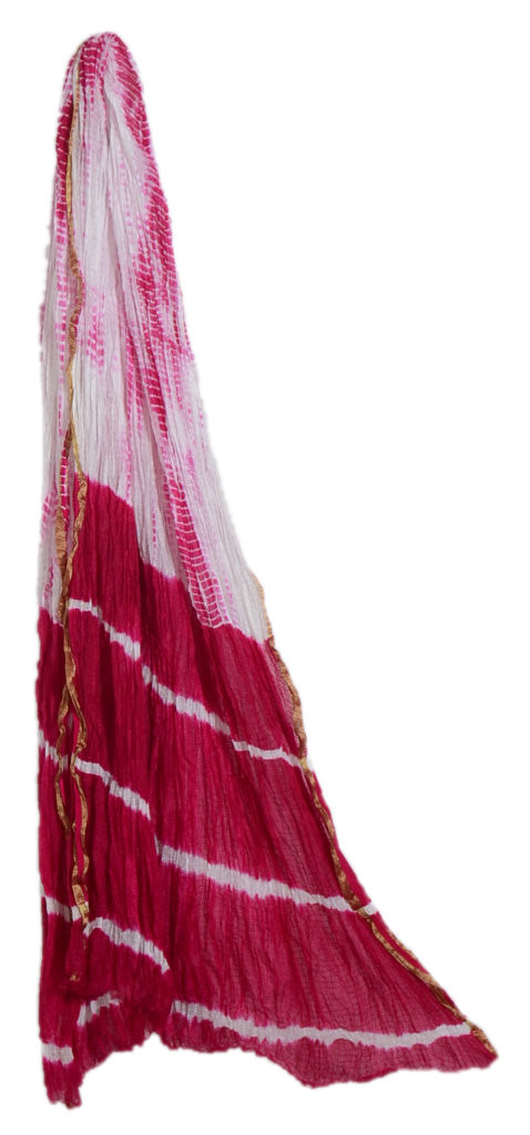 HandWoven Shibori Dyed Kota Doria Cotton Dupatta White Pink : Picture
