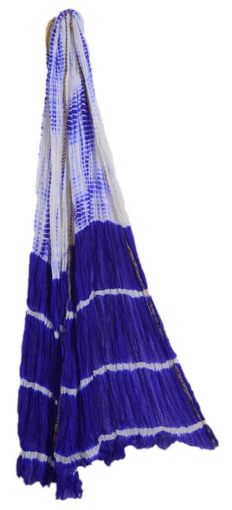 HandWoven Shibori Dyed Kota Doria Cotton Dupatta White Violet : Picture