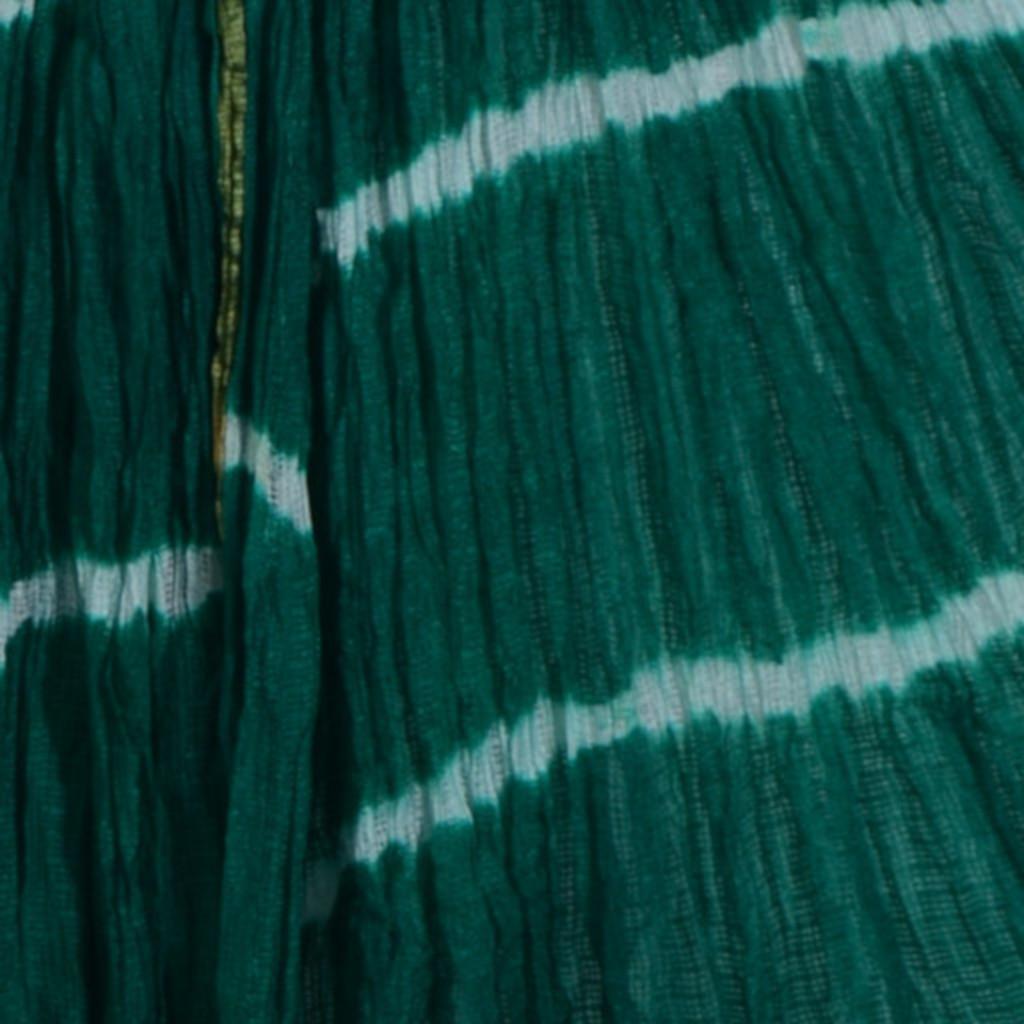 HandWoven Shibori Dyed Kota Doria Cotton Dupatta White Green : Picture