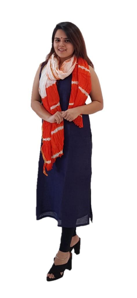 HandWoven Shibori Dyed Kota Doria Cotton Dupatta White Orange : Picture