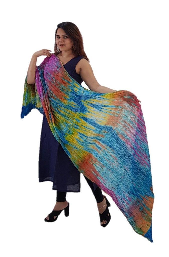 HandWoven Leheriya Kota Doria Cotton Dupatta MulticolouredBlue : Details