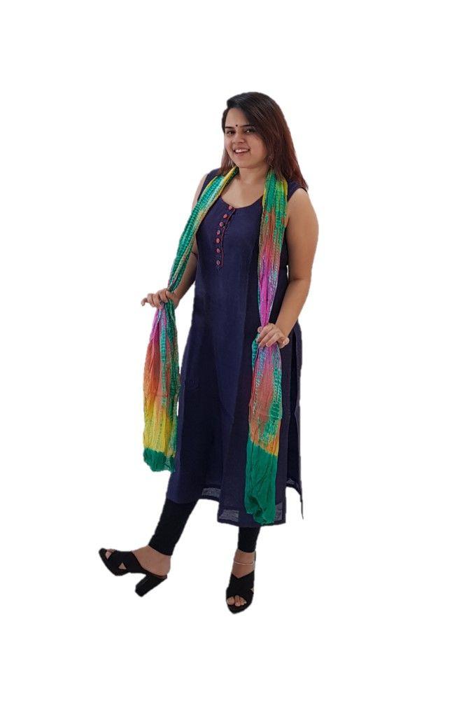 HandWoven Leheriya Kota Doria Cotton Dupatta MulticolouredGreen : Details