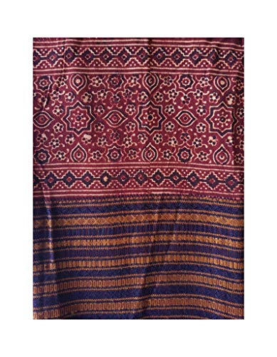HandWoven Ajrakh Printed Pure Cotton Kutch Dupatta Crimson Red : Picture
