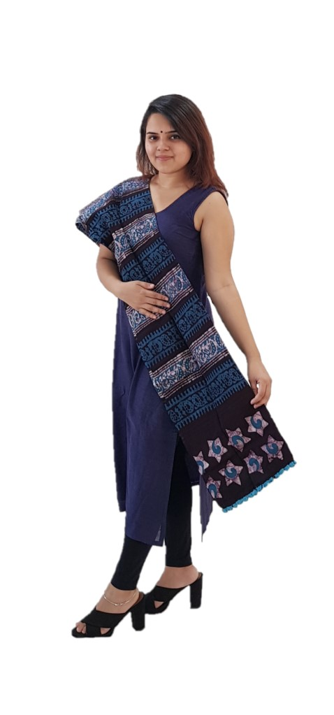HandWoven Baatik Printed Pure Cotton Kutch Stole Brown Blue : Picture