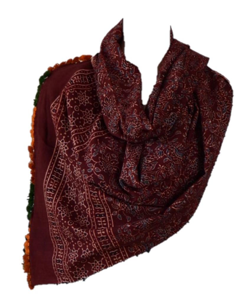 HandWoven Ajrakh Printed Pure Cotton Kutch Stole Crimson Indigo : Picture