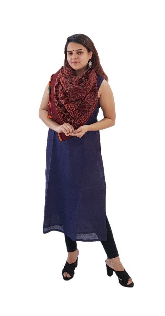 HandWoven Ajrakh Printed Pure Cotton Kutch Stole Crimson Indigo : Details