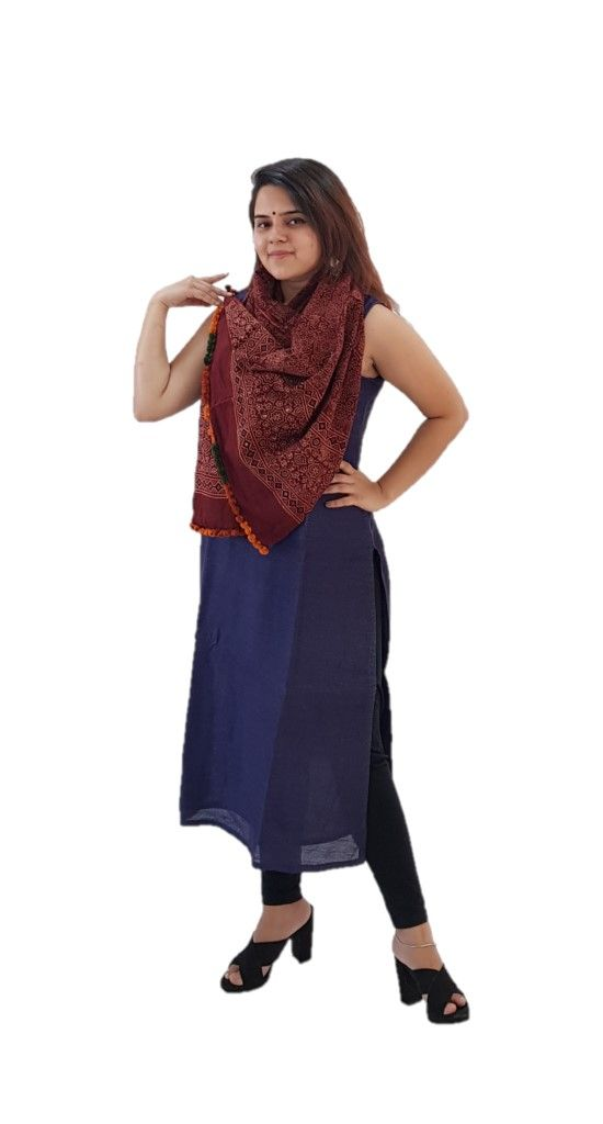 HandWoven Ajrakh Printed Pure Cotton Kutch Stole Crimson Red : Picture