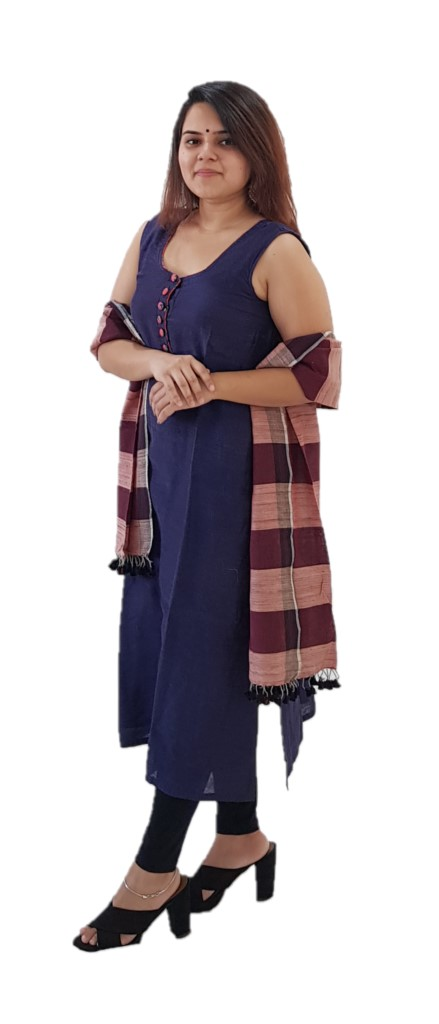 HandWoven Tussar Cotton Kutch Stole Maroon : Picture