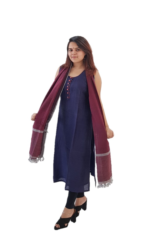 HandWoven Soft Cotton Kutch Stole Maroon : Picture