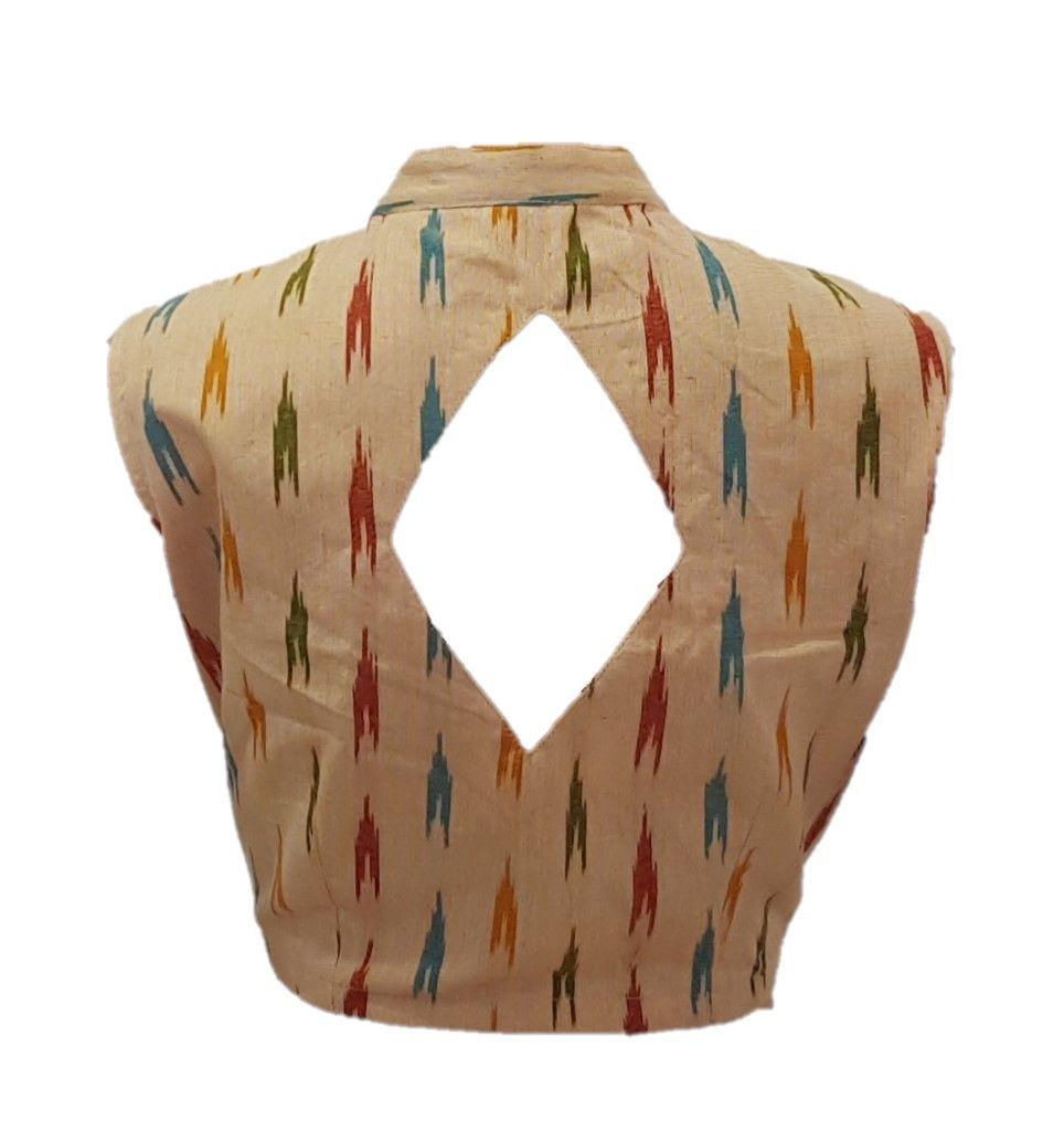 Pochampally Ikat Cotton Fabric Stand Collar Sleeveless Readymade Saree Blouse ChandanYellow Size Large : Picture