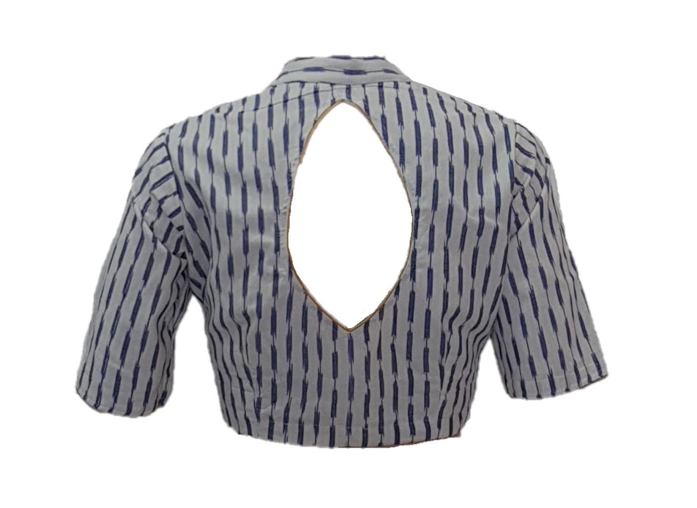 Pochampally Ikat Cotton Fabric Stand Collar Readymade Saree Blouse WhiteBlue  : Picture