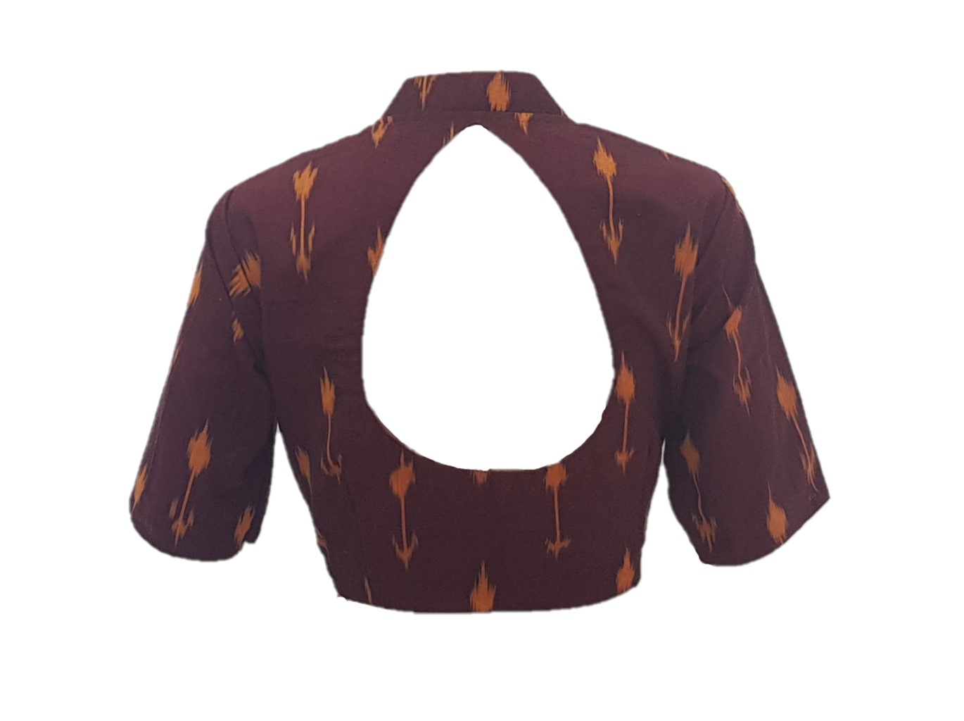 Pochampally Ikat Cotton Fabric Stand Collar Readymade Saree Blouse Brown Size Large : Picture