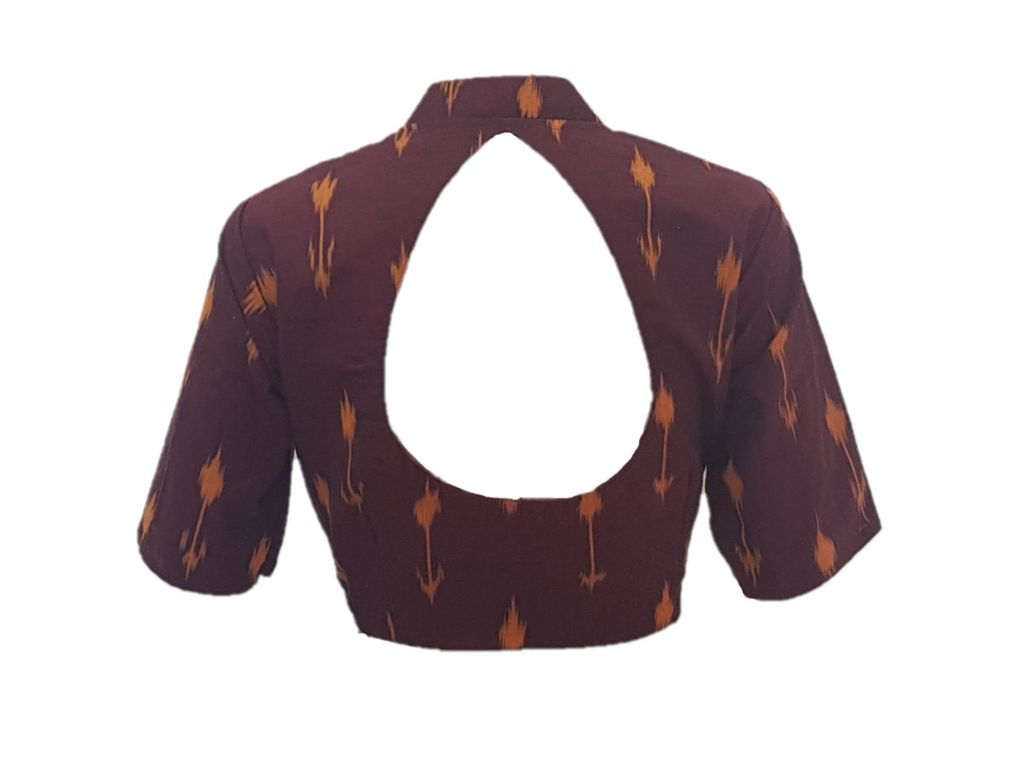 Pochampally Ikat Cotton Fabric Stand Collar Readymade Saree Blouse Brown Size Large : Details