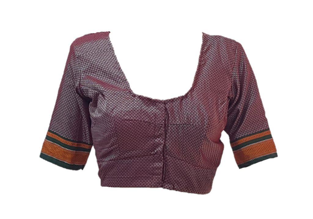 Ilkal Cotton Silk Khun Fabric Readymade Saree Blouse Pinkish Maroon Size Large : Picture