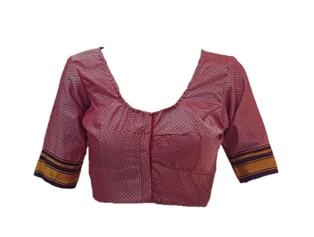 Ilkal Cotton Silk Khun Fabric Readymade Saree Blouse PeachPink Purple Size Large : Details