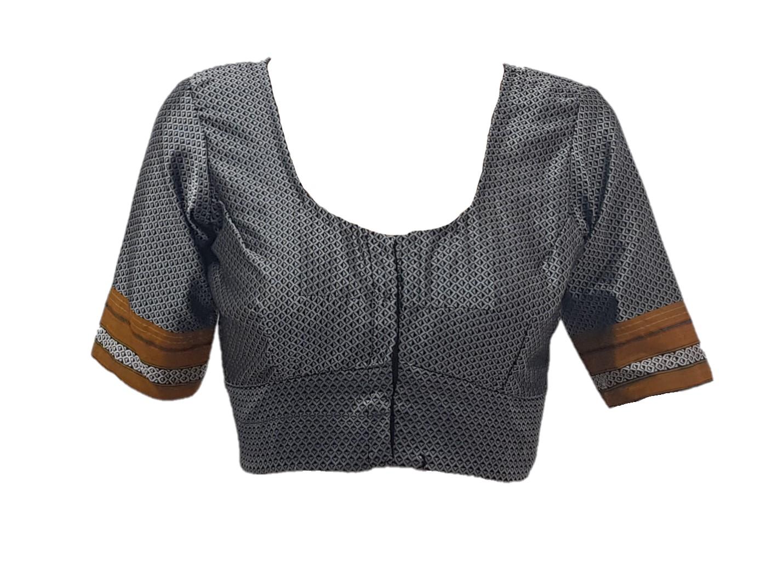Ilkal Cotton Silk Khun Fabric Readymade Saree Blouse Grey Yellow Size Large : Picture
