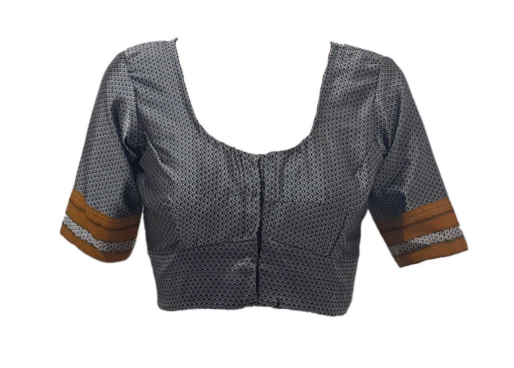 Ilkal Cotton Silk Khun Fabric Readymade Saree Blouse Grey Yellow Size Large : Details