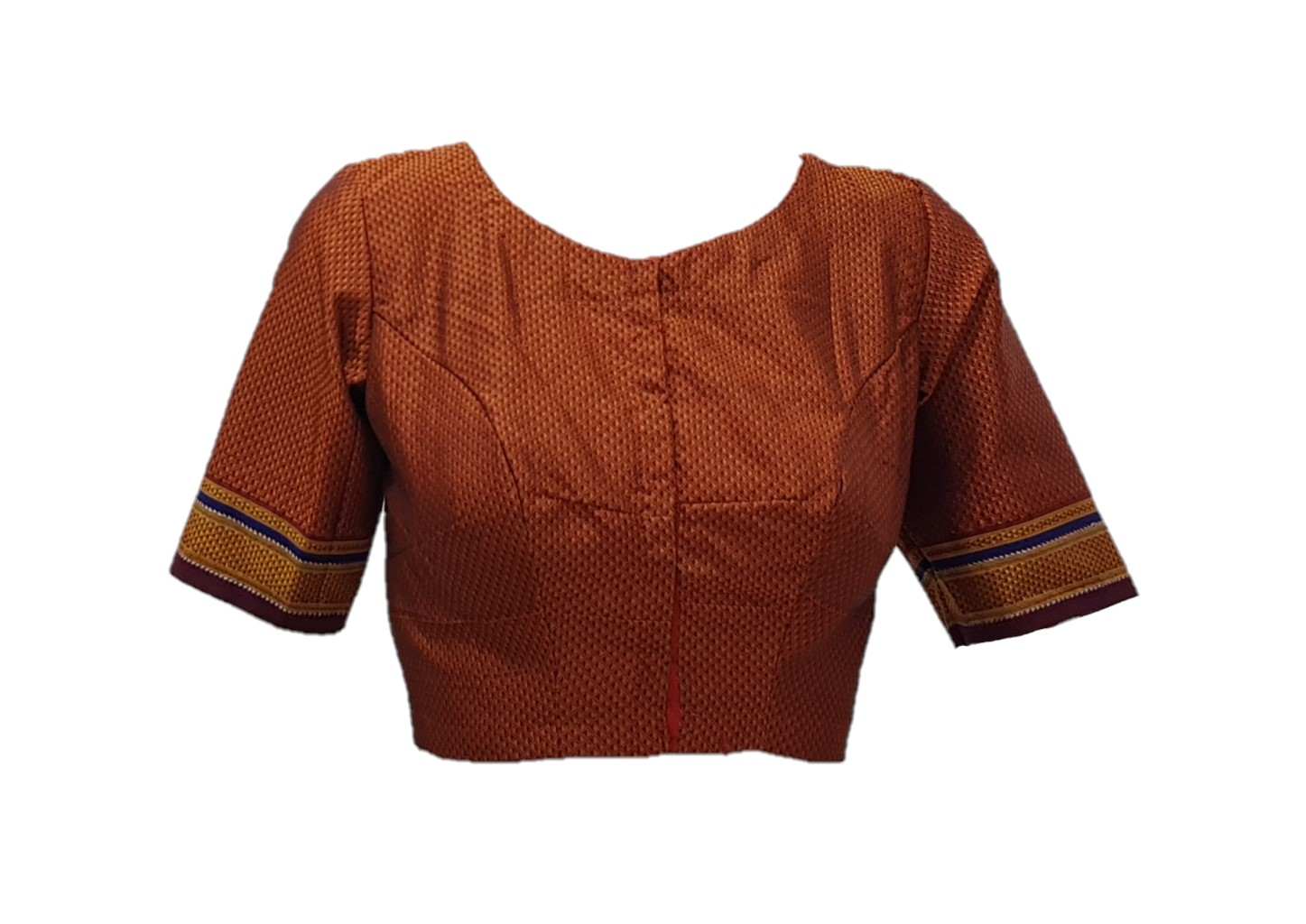 Ilkal Cotton Silk Khun Fabric Boat Neck Readymade Saree Blouse CopperMaroon Size Medium : Picture
