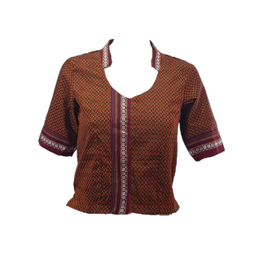 Ilkal Cotton Silk Khun Fabric Stand Collar Readymade Long Saree Blouse Copper Checkered Size Medium : Picture