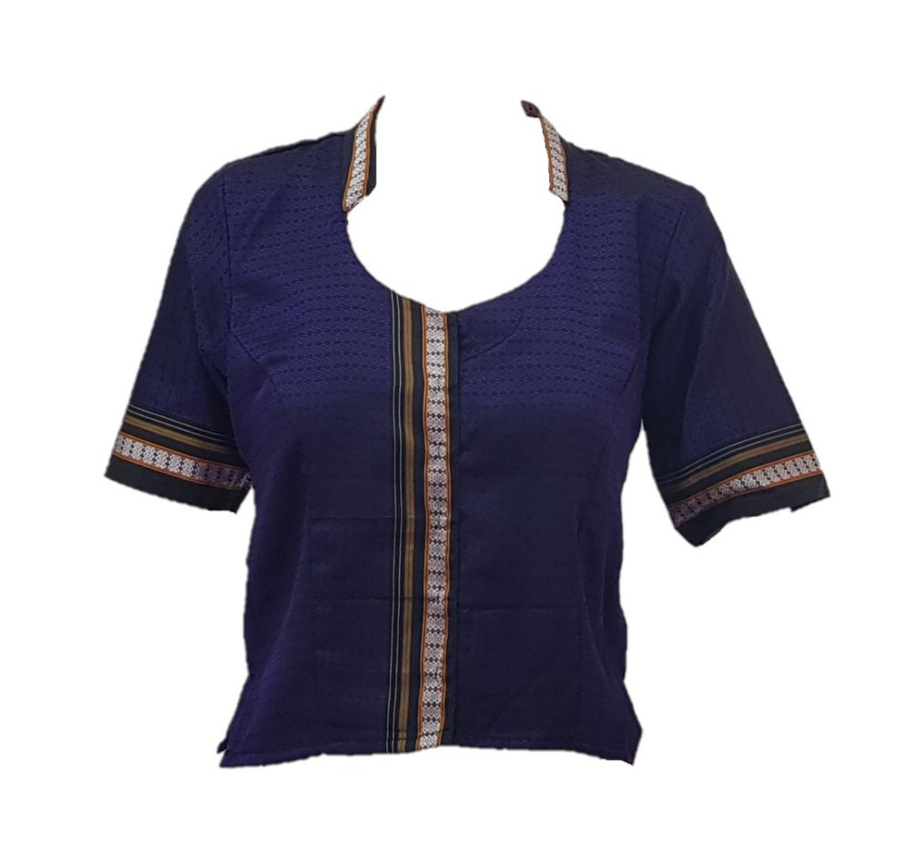 Ilkal Cotton Silk Khun Fabric Stand Collar Readymade Long Saree Blouse Violet Size Medium : Picture