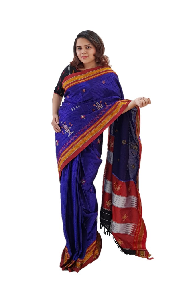 Khun Saree with Kasuti Work of TulsiKatta Elephant and Ilkal Resham Tope Pallu Violet Red : Picture