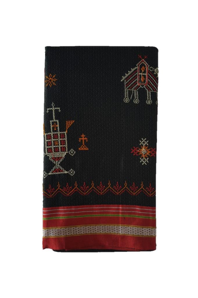 Khun Saree with Kasuti Work of TulsiKatta Elephant and Ilkal Resham Tope Pallu Black Red : Picture
