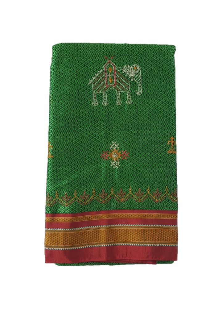 Khun Saree with Kasuti Work of TulsiKatta Elephant and Ilkal Lining Pallu Green Red with Black pattern : Picture