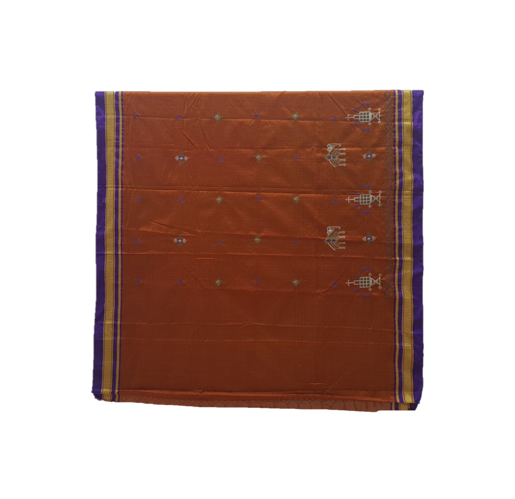Khun Saree with Kasuti Work of TulsiKatta Elephant and Ilkal Lining Pallu Copper Violet : Picture