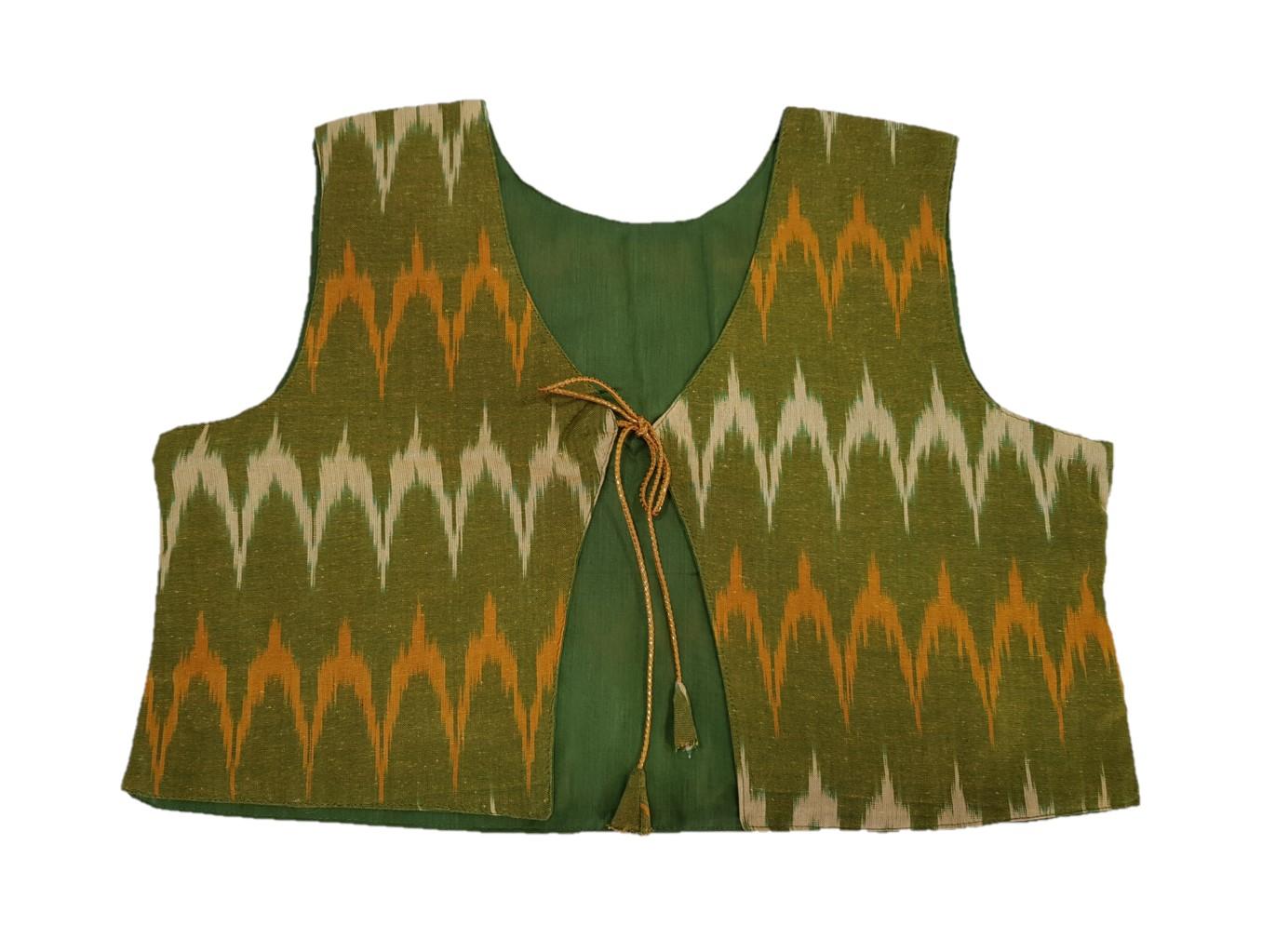 Pochampally Ikat Jacket Short Waist Coat with Front Knot OliveGreen Size Large : Picture