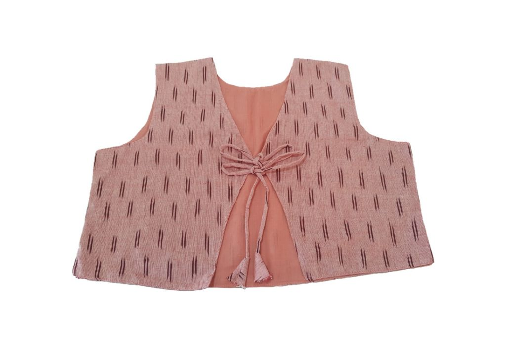 Pochampally Ikat Jacket Short Waist Coat with Front Knot PeachPink Size Large : Picture