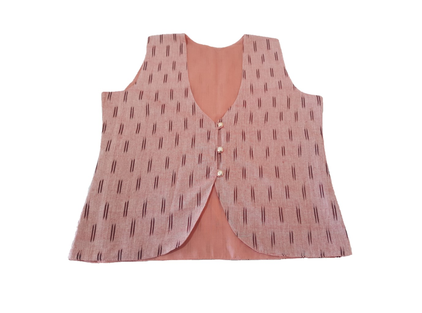 Pochampally Ikat Jacket Short Waist Coat with Front Button Closures  PeachPink Size Large : Picture